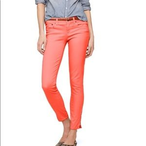 I Crew Factory Red Orange Toothpicks Skinny Jeans
